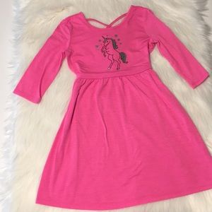 Justice pink/silver unicorn knit dress Size 6/7